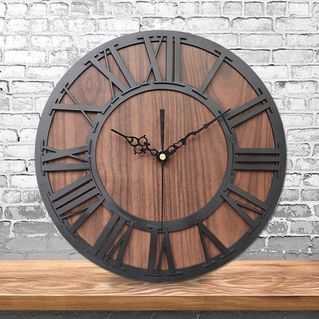 Wall-Clock Decorative Mechanism Wooden Living-Room Digital Vintage Modern-Design European