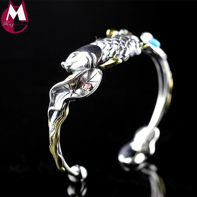 Bracelet en argent thaïlandais avec poisson et Lotus pour femmes, bijoux en pierres précieuses Tuiquoise, Bracelet en forme de fleur de Lotus, fait à la main SB59-in Bracelets et joncs from Bijoux et Accessoires    1