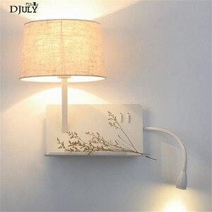 Image 1 - Creative Usb טעינת נמל מדף בד led מנורת קיר מודרני חדר שינה מנורה שליד המיטה בית דקו מחקר קריאת led פמוטים קיר אור