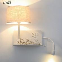creative Usb charging port Shelf fabric led wall lamp modern bedroom bedside lamp home deco study reading led wall sconces light