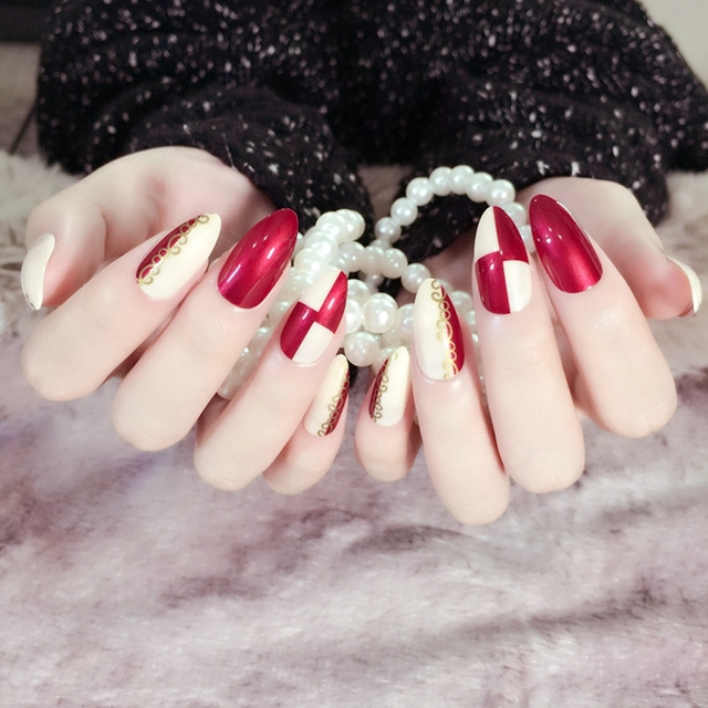 Beige Pointed Artificial False Nails Wine Red Nails For Finger ...