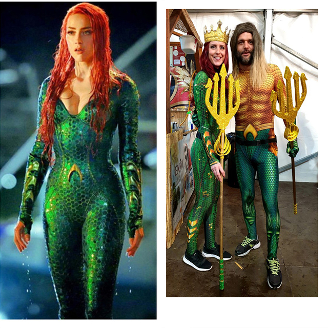 Aquaman Mera Mermaid Costume Amber Heard Sea Queen Mera Bodysuit Superhero Halloween Cosplay Jumpsuit for Swimming