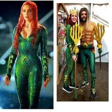 Aquaman Mera Mermaid kostüm Amber kalp deniz kraliçesi Mera Bodysuit süper kahraman cadılar bayramı Cosplay tulum yüzme