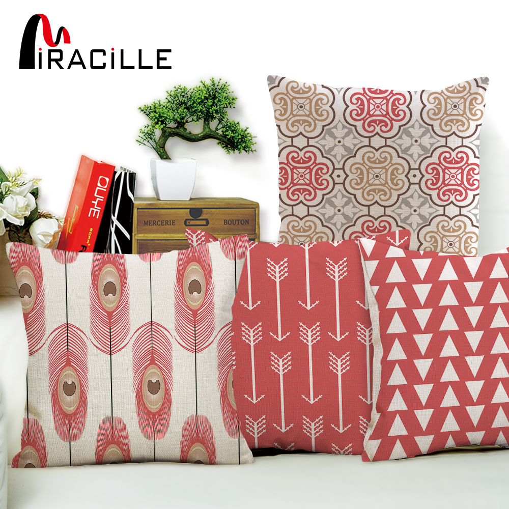Miracille Linen Cotton Pink Geometry Patterns Home Decorative Sofa Throw Cushion Peacock Feather Pillow No Filling