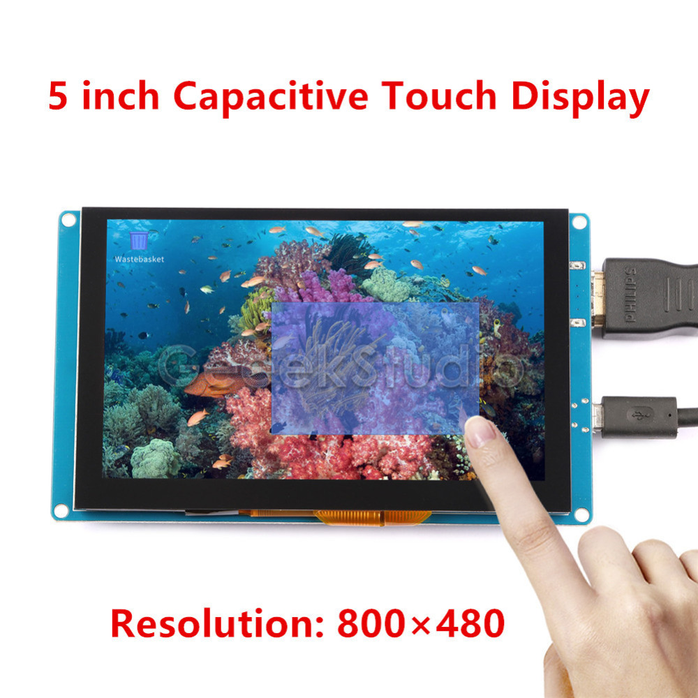 Free Driver 5 inch 800*480 Display Capacitive Touch Screen Monitor for Raspberry Pi, Windows PC, BeagleBone Black Plug and Play 52pi 7 inch 1024 600 free driver tft display capacitive touch screen monitor for raspberry pi win beaglebone black plug and play