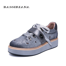 BASSIRIANA 2019 new womens flats Spring Fall Leather Flats shoes for woman Basic Casual Round Toe 35-40 Free shipping