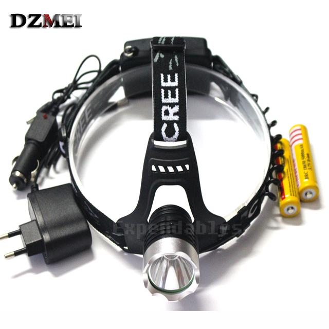 Cabeça Da Lâmpada de Alta Potência 2000 Lumen Cree XM-L T6 LED Farol + 2 pcs 18650 5000 mah bateria + carregador
