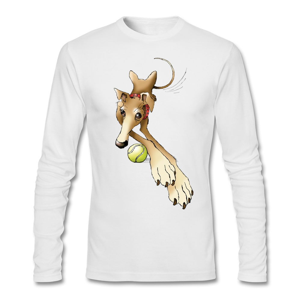 rescue dog Artwork T-Shirt men Full Sleeve XXL Camisa Designs SPIKE THE GREYHOUND for BF