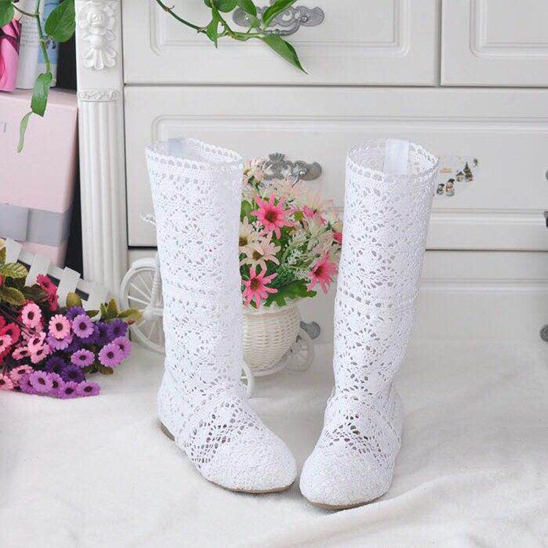 Открытые ботинки на шнурках, на выбор, из дышащего материала, с сеточкой, в Корейском стиле, на лето, женская обувь до колена|Сапоги до колена|   | АлиЭкспресс