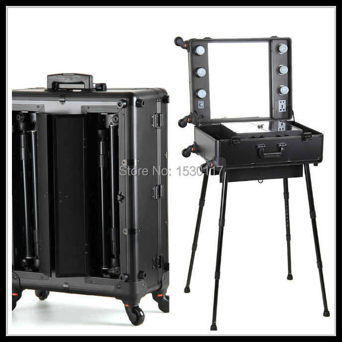Professional Makeup Trolley With Lights Aluminum Makeup Case With