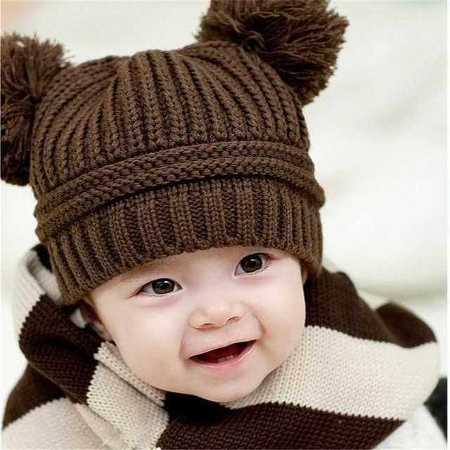 Korean winter baby girls boys cute knitted love hat double ball korean winter baby girls boys cute knitted love hat double ball children sweater cap fashionable brand voltagebd