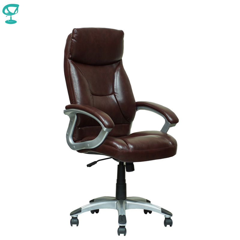 94657 Brown Office Chair Barneo K-4 Perforated Eco-leather High Back Chrome Armrests With Leather Straps Free Shipping In Russia