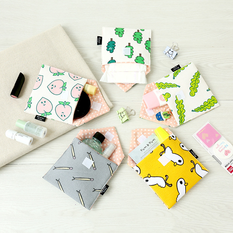 Girls Cartoon Cotton Cosmetic Bags For Sanitary Napkin Storage Bag Sanitary Pads Package Bags Jewelry Organizer