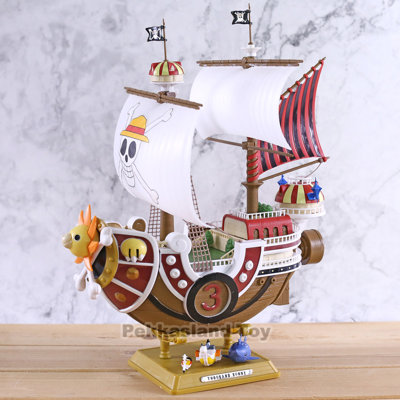<font><b>One</b></font> <font><b>Piece</b></font> Thousand Sunny <font><b>Luffy</b></font> Pirate Ship Model Boat PVC Action Figure Collectible Toy Model Doll For Kids Gift image