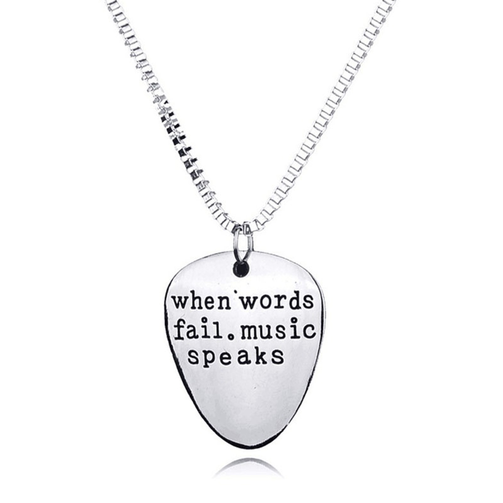 Men Women When Words Fail Music Speaks Guitar Pick Pendant Necklace Jewelry