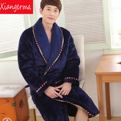 Winter luxury thick velvet man pajamas quilted small lapel gown loose big size long winter bath.jpg 250x250
