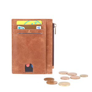 Image 4 - Genuine Leather RFID Credit Card Wallets Retro Multifunctional Men Mini Coin Purses Vintage Women Small Coin Pouch ID Card Case