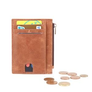 Image 4 - עור אמיתי RFID כרטיס אשראי ארנקים רטרו רב תכליתי גברים מיני מטבע ארנקי בציר נשים קטן מטבע פאוץ מזהה כרטיס מקרה