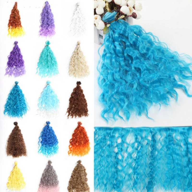 1 шт. 25*100 см кукла парики DIY кукольные волосы кудрявые волосы волнистые волосы парики Красочные градиент кукольные волосы для 1/3 1/4 1/6 BJD кукла