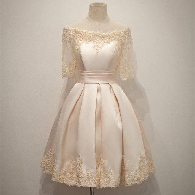 Champagne Lace Short Dress: Short Champagne Satin Lace Prom Dresses 2017 Boat Neckline