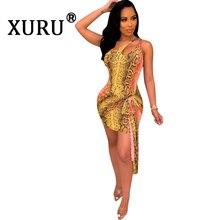 XURU summer new sexy snakeskin print dress elastic waist bag hip hanging neck hollow tie irregular