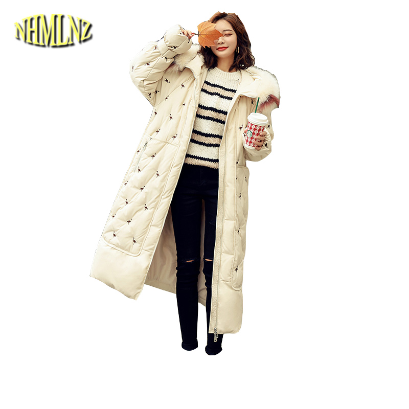 New Fashion Warm Hooded Real fur collar White duck   down   Loose Women's   Down   jacket Winter High quality Women's   Down     Coat   LH372