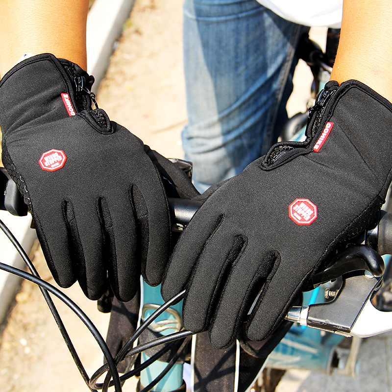 <font><b>Winter</b></font> Herren Frauen Radfahren Handschuhe Anti-slip Motorrad Winddicht Bike Handschuhe Anti-schock Full Finger Mountainbike Handschuhe image