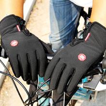 Zimowe męskie damskie rękawiczki rowerowe antypoślizgowe motocyklowe wiatroszczelne rękawice rowerowe Anti-shock pełne palce rękawice do roweru górskiego tanie tanio kyncilor NYLON Z pełnym palcem Cycling Glove Jazda na rowerze Antystatyczna S M L XL WINDSTOPPER Black Touch Screen Anti-slip Windproof