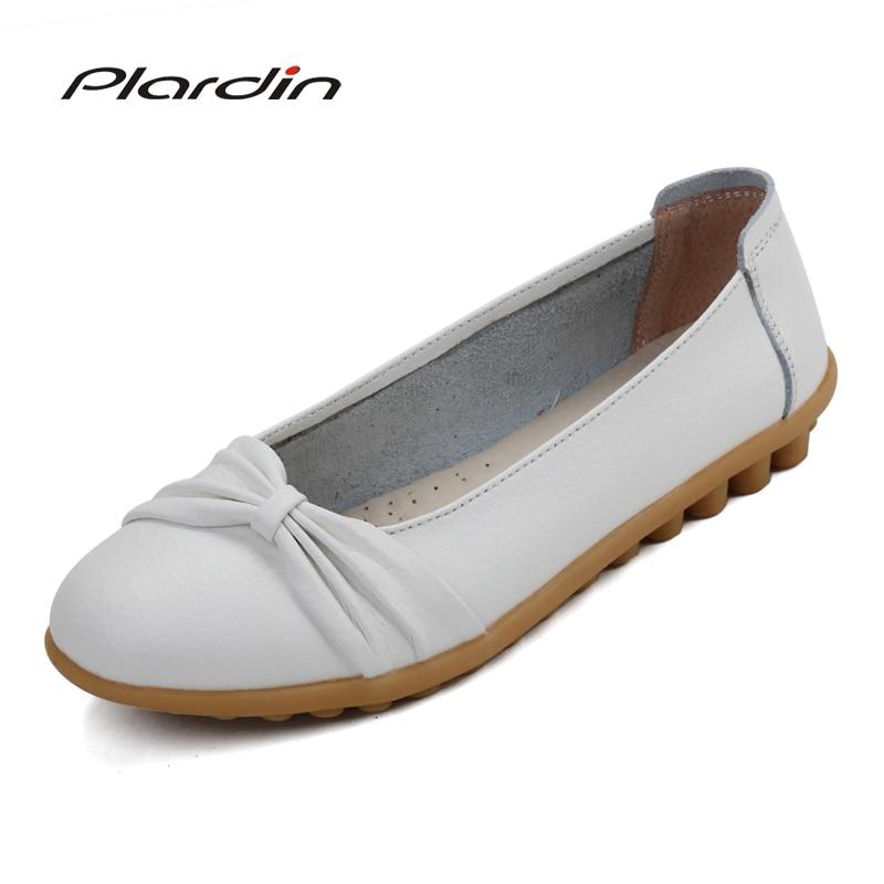 plardin 2018 Four Seasons Round Toe Genuine Leather Shoes Flat Shallow Women Shoes Ballet Flats Women Nurse Loafers ballet Flats princess poppy ballet shoes