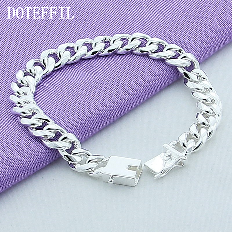 10mm Armband 925 Silber Farbe Männer Armband 925 Silber Modeschmuck 20 CM Führende Quadratische Schnalle Überzogenes Silber Armband