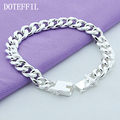 10mm Bracelet 925 Silver Men Bracelet 925 Silver Fashion Jewelry 20CM Leading Square Buckle Bracelet Hot Sale Free Shipping