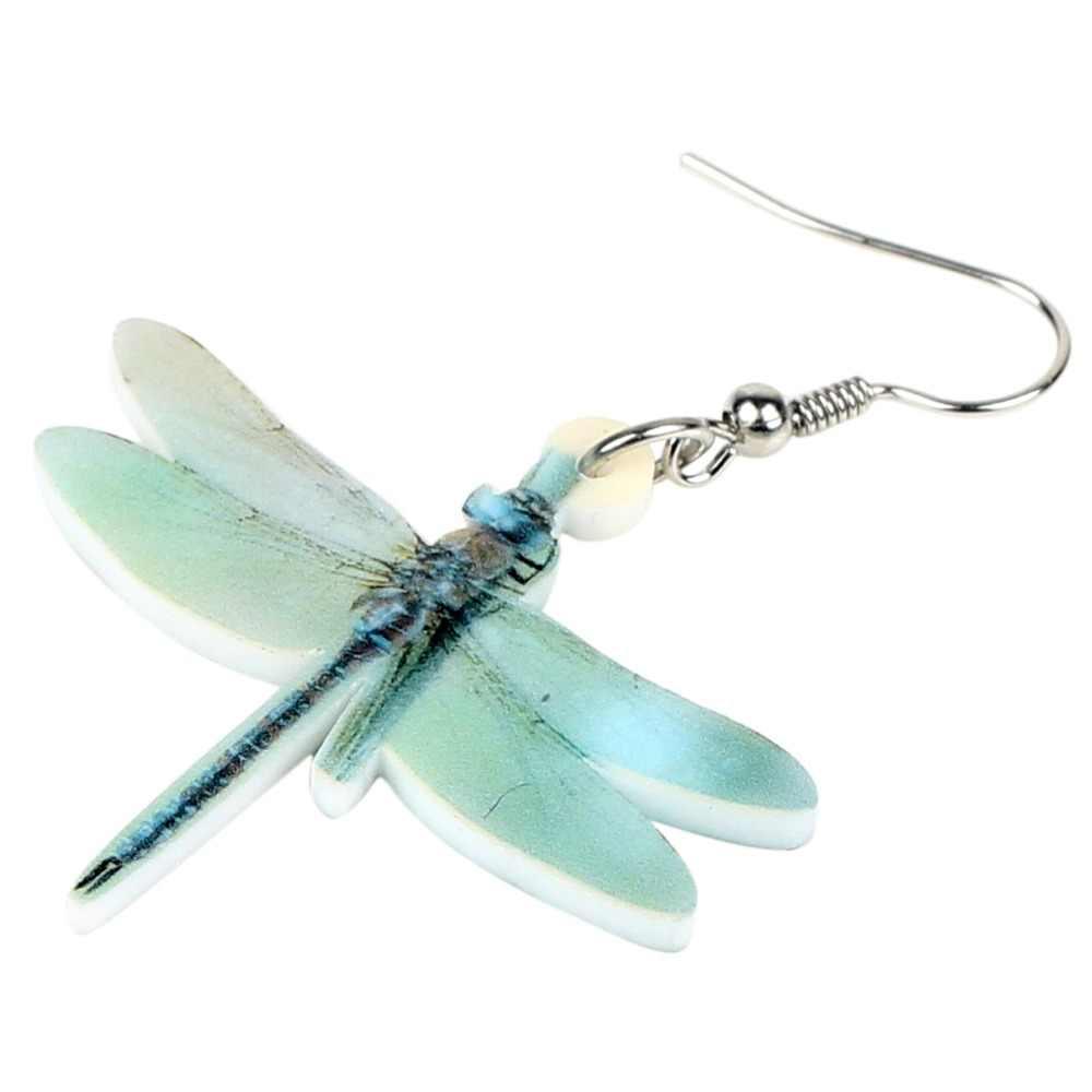 Bonsny Statement อะคริลิคน่ารัก Dragonfly ต่างหูใหญ่ยาว Dangle Drop แมลงเครื่องประดับสำหรับหญิงสาวเด็ก Charms ของขวัญอุปกรณ์เสริม