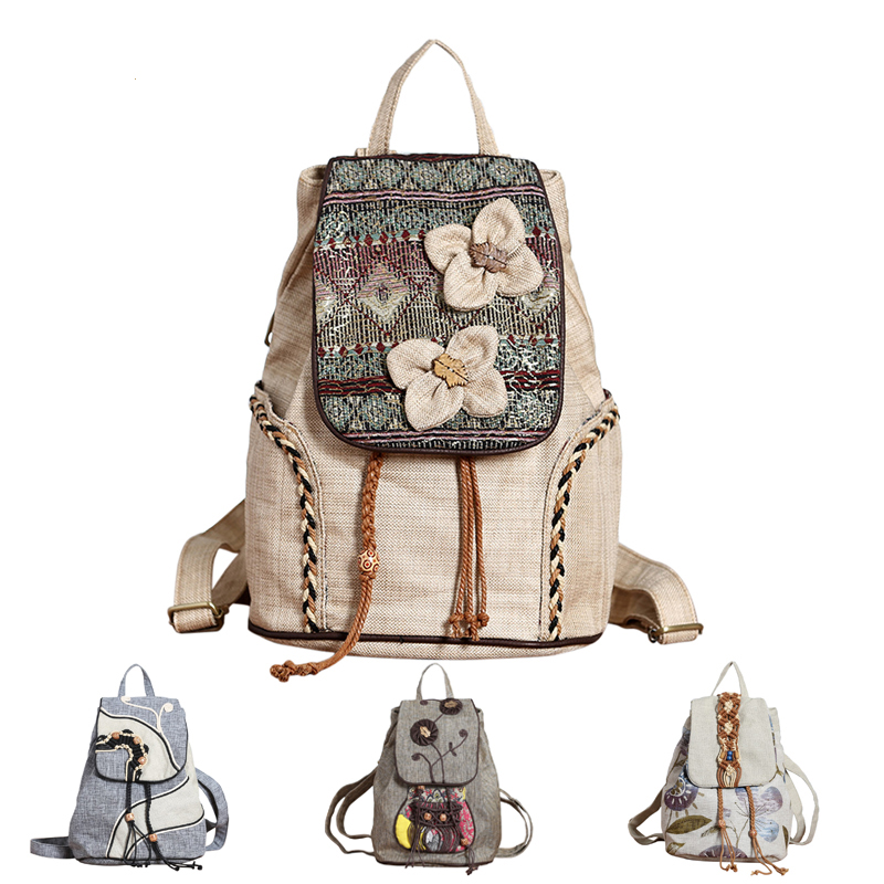 Vintage Female Backpack Retro Tribe Florals Flowers Canvas Backpack For Women Girls Weave Bagpack Schoolbag Rucksack 2018