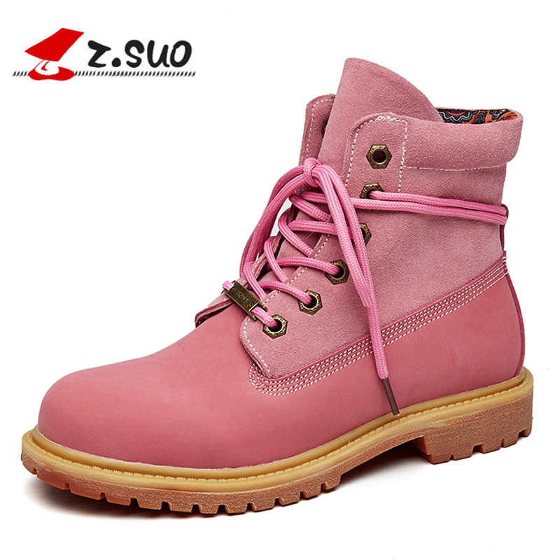 2018 Autumn/Winter Genuine Leather Boots Women Fashion Cuffed Suede Ankle Boots Outdoor Round Top Pink Short Boots for work stylish mid waist cuffed denim ripped shorts for women