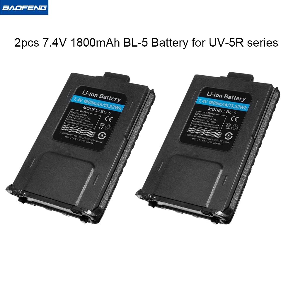 2PCS Baofeng Batteri BL-5 Li-ion Batteri 7.4V 1800mah Walkie Talkie Tvåvägs Radio Baofeng UV 5R Tillbehör Baofeng UV-5R Serie