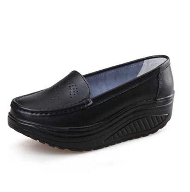 2016 весна натуральная кожа мягкая подошва рабочая обувь женский черный качели обувь женщина плюс размер клинья одиночные женские туфли