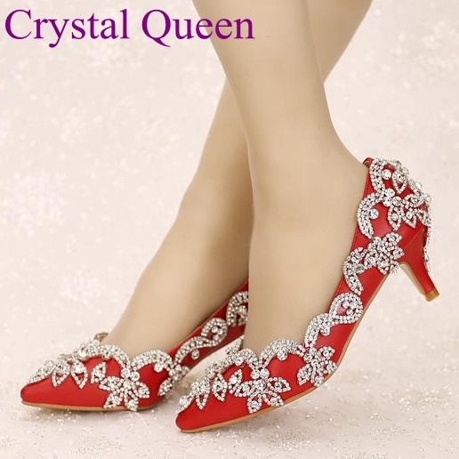 women pumps 2017 red bridal shoes high heels wedding shoes rhinestone thin heels  formal dress shoes crystal pointed toe shoes d74b19ef9083