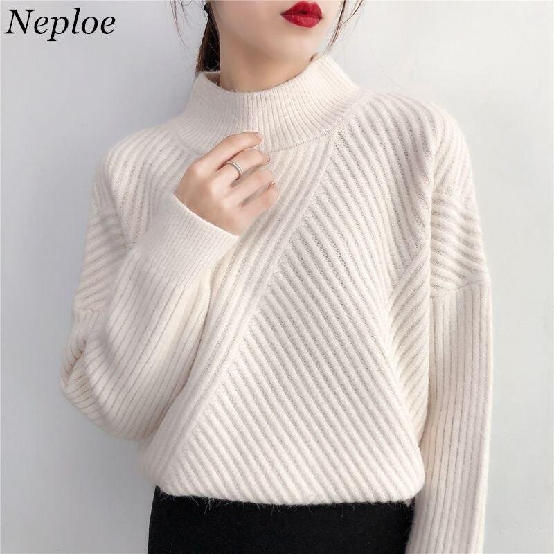 Neploe Jersey de punto suéteres mujeres Tops 2019 Otoño e Invierno cuello  alto Medio rayas suéteres a7357b6a7828