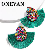 ONEVAN Beads Bohemian Crystal Tassel Drop Earrings For Women Female Fashion Ethnic Long Red Black Fringe Dangle Earring 2019(China)