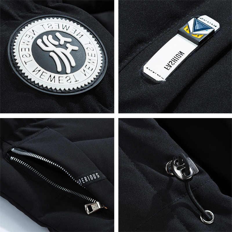 Хлопковая Толстая Мужская куртка, зимняя теплая Повседневная Новая мужская брендовая парка, верхняя одежда, ветровка, классическое пальто с капюшоном, мешковатое пальто для колледжа