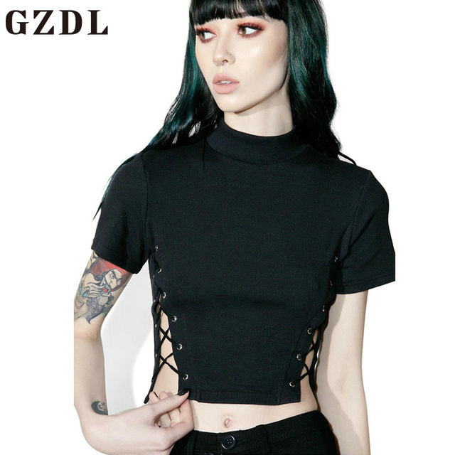 3e65017f487 GZDL Short Sleeve Lace Up Split Women Summer Crop Top Style Fashion  Turtleneck Solid Slimming Tops Fitness Female Blouses CL3824