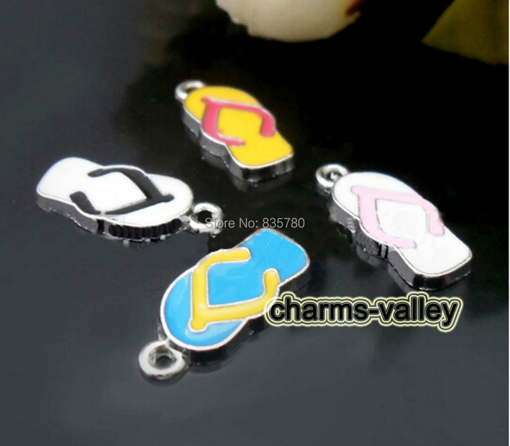 Free Shipping! 50PCS Mixed Color Slippers Hang Pendants Hang Tags Fit Key Rings, Necklaces