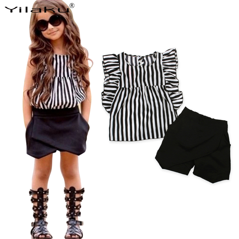 Toddler Baby Girls Summer Clothing Set Striped shirt + Black Shorts 2PCS Girls Outfit Clothes Casual Kids Clothes CF478 4th of july baby girls clothing set summer girls tees ruffle short girls outfit american usa flag baby clothes 2pcs kids clothes
