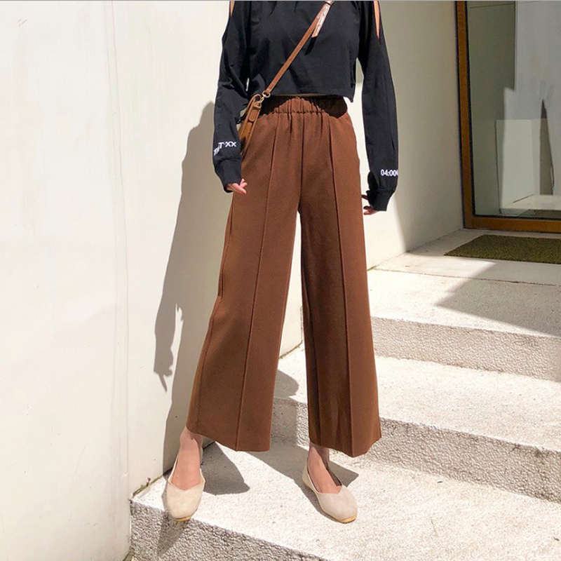 New Fashion Autumn Winter Women's Elastic High Waist Woolen   Wide     Leg     Pants   Female Thicken Casual Trousers Woolen Nineth   Pants