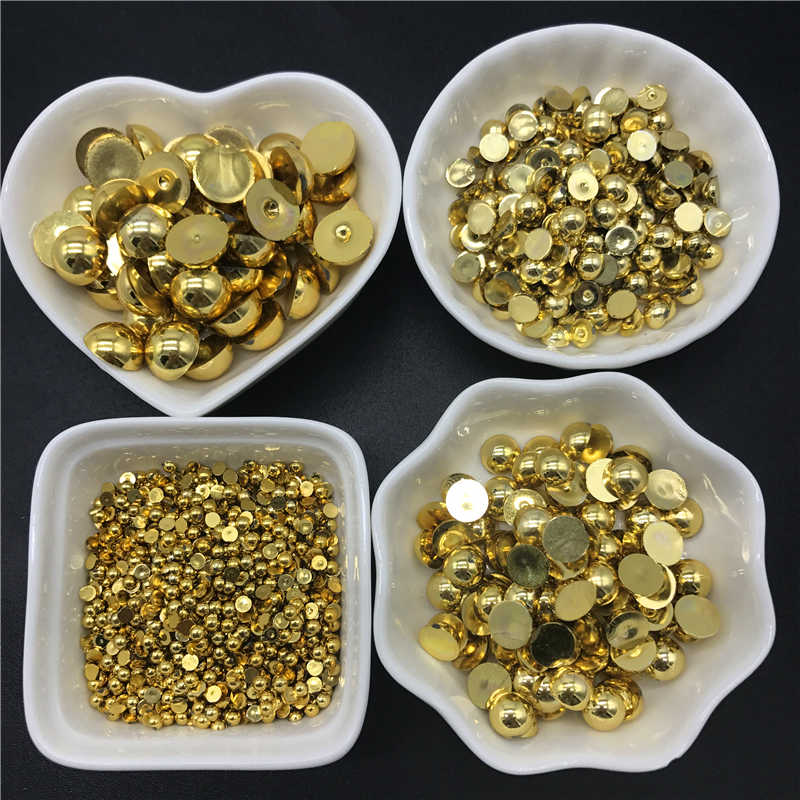 3 4 6 8 10 12mm ABS Gold Silver Half Round Pearl Bead Flat Back Scrapbook Beads For Jewelry Making DIY Phone Case Scrapbook