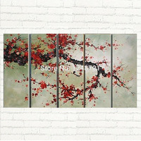 handpainted Large Cherry Blossom oil Painting wall art 5 piece panles canvas art for home hotel wall decoration