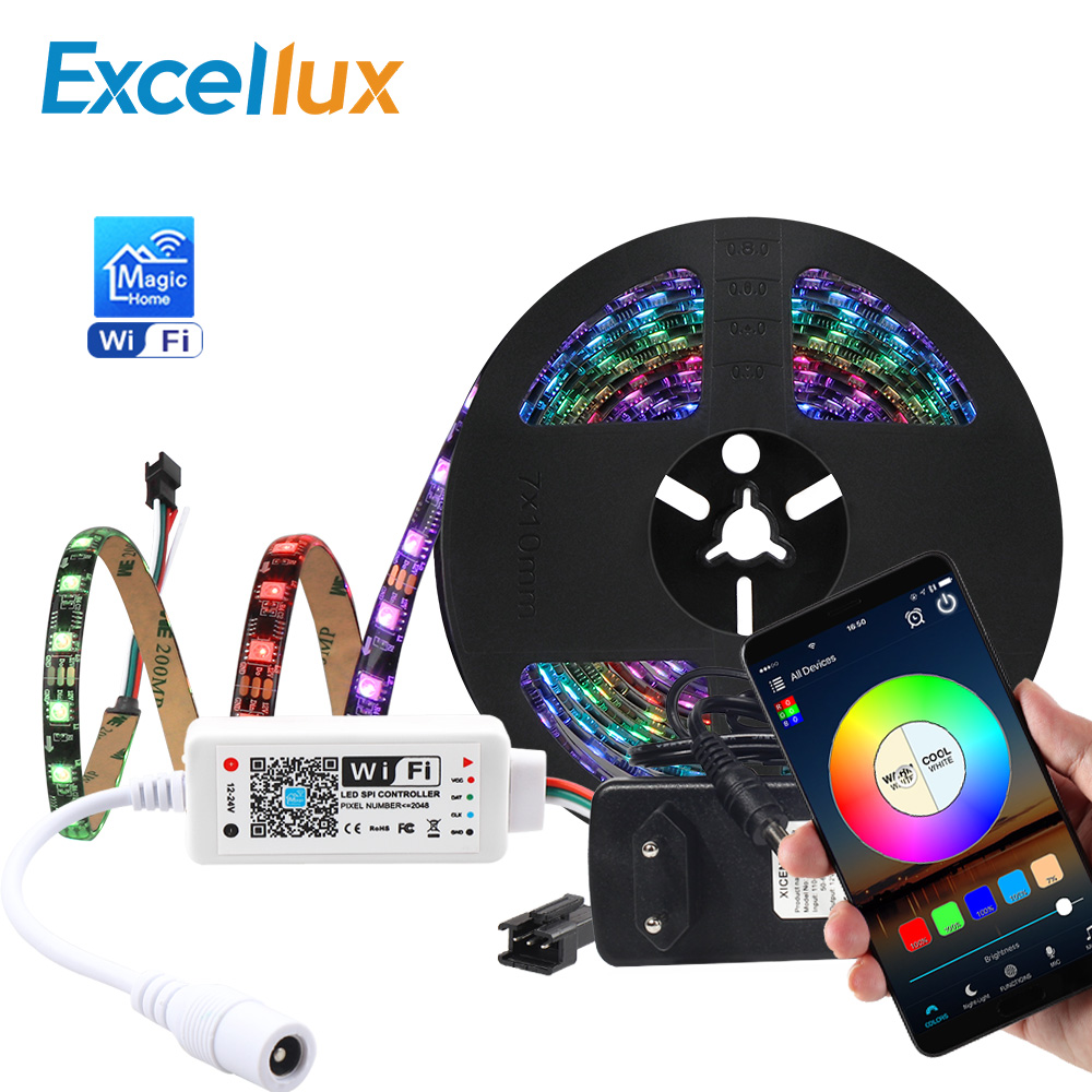 Magic Home WS2811 5050 RGB Led Strip WIFI App Control Addressable Led Pixel Strip Light 30leds,60leds IOS Android Alexa Google