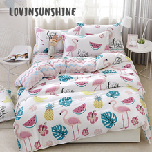 LOVINSUNSHINE Cover Bed Sheet Pillowcase And Home Textile Flamingo Cartoon Lovely Kids Duvet Set AB#0