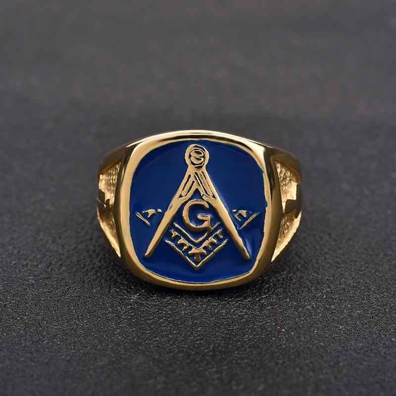 Jiayiqi, винтажные синие масонские кольца-печатки для мужчин, ювелирные изделия, Золотое кольцо из нержавеющей стали, мужские кольца в стиле панк, готика, вечерние, подарки
