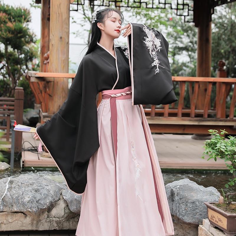 Hanfu Women Embroidery Dance Costume Black Oriental Performance Clothing Folk Dress Festival Rave Outfit Stage Dance Wear DC2373
